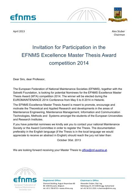 Invitation for Participation in the EFNMS Excellence Master Thesis ...