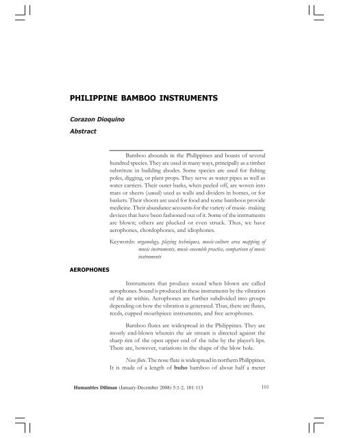 PHILIPPINE BAMBOO INSTRUMENTS - Heritage in the Philippines