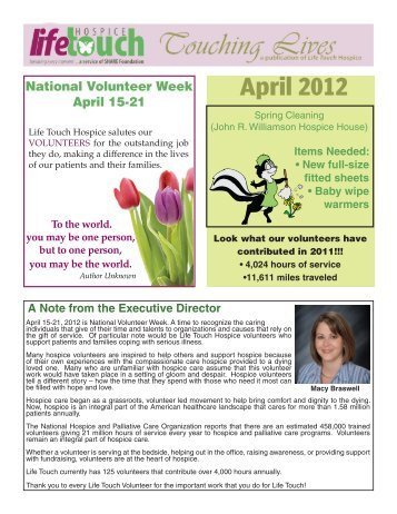 April 2012 A Note from the Executive Director - Life Touch Hospice