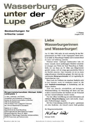 Lupe, Januar 1996, Bürgermeisterkandidat ... - SPD-Wasserburg