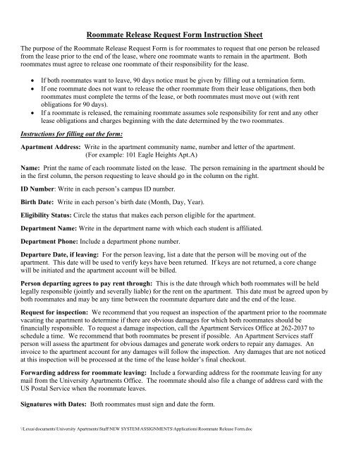 Roommate Release Request Form Instruction Sheet - Housing