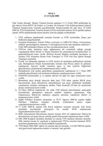 11 - 13 Eylül 2008 Merkez Yönetim Kurulu Toplantısı - Türk Toraks ...
