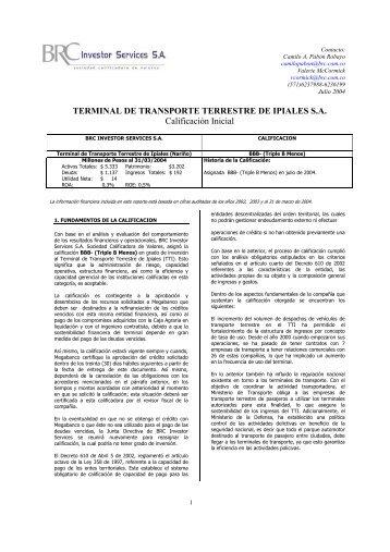 TERMINAL DE TRANSPORTE TERRESTRE DE IPIALES S.A. ...
