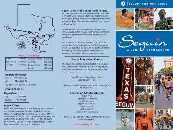SEGUIN VISITOR'S GUIDE Scenic Drives Temperature Range ...
