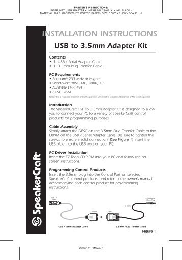 INSTALLATION INSTRUCTIONS USB To 3.5mm Adapter Kit