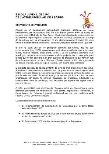 Escola Juvenil de Circ 2011-2012 - Ateneu Popular 9 Barris
