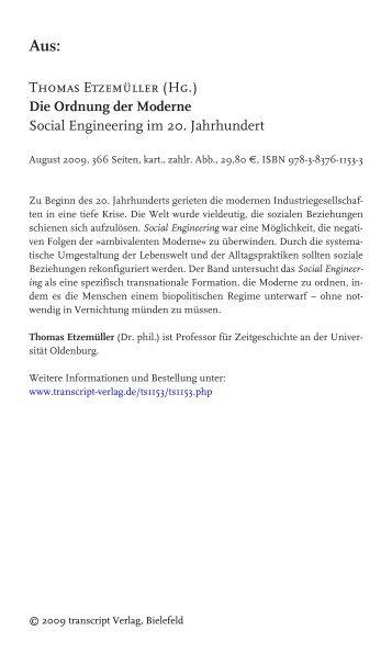 Thomas Etzemüller (Hg.) Die Ordnung der ... - transcript Verlag