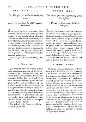 De his qui in ecclesiis manumit- tuntur. - Histoire du droit