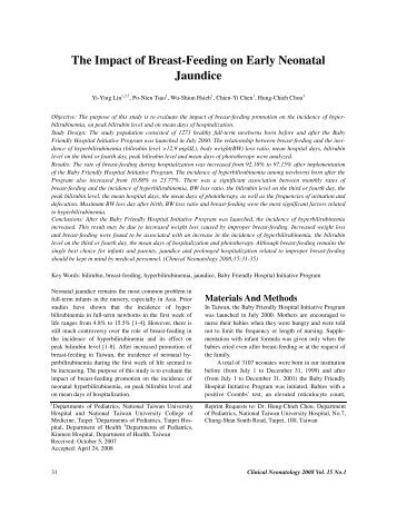The Impact of Breast-Feeding on Early Neonatal Jaundice