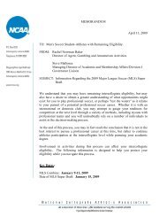 NCAA Second MLS Agent/Draft/Tryout Memo