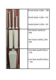 Runde Säulen 1,80m – 10€ Runde Säulen 1,60m