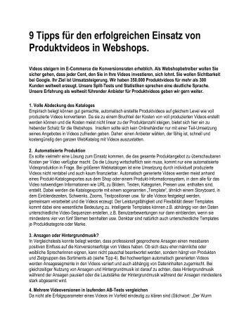 9 Tipps für den erfolgreichen Einsatz von Produktvideos ... - Treepodia