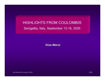 Coulomb'05 Highlights - Cern