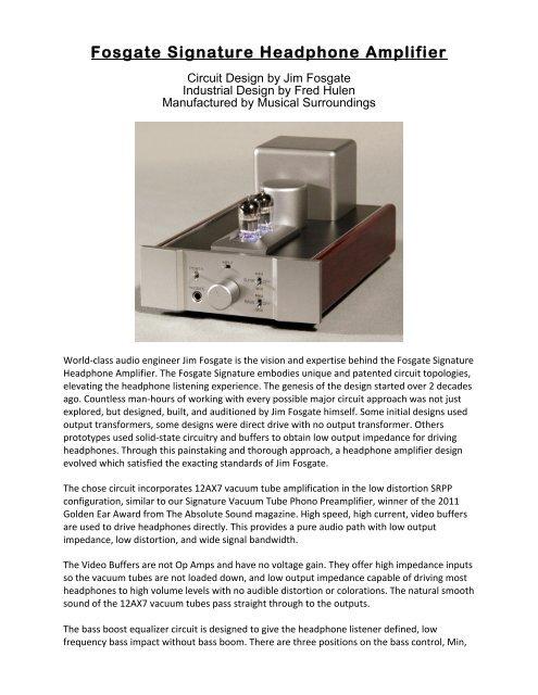 Fosgate Signature Headphone Amplifier - Musical Surroundings