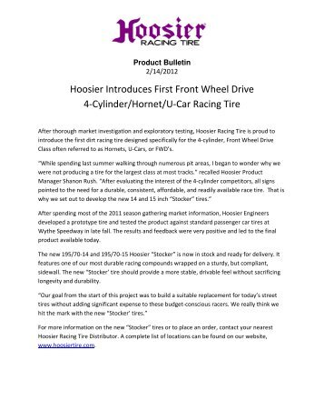 Hoosier Introduces First Front Wheel Drive 4-Cylinder/Hornet/U-Car ...
