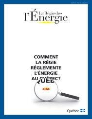 RappoRt annuel 2010-2011 - Régie de l'énergie