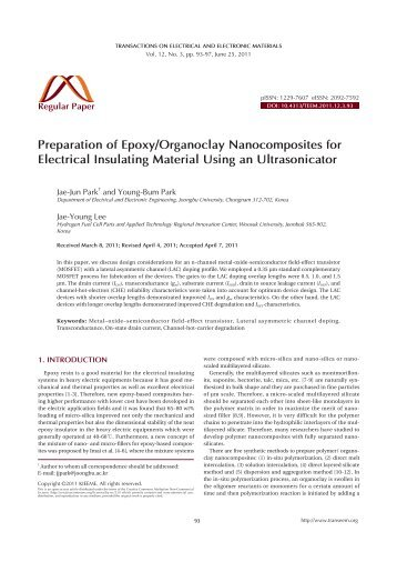 Preparation of Epoxy/Organoclay Nanocomposites for Electrical ...