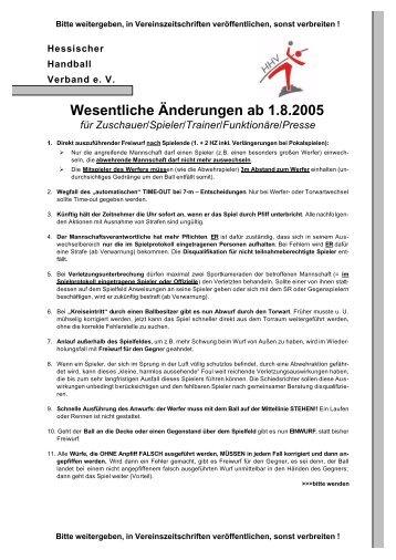 Regelaenderungen 2005 - HSG Hanau