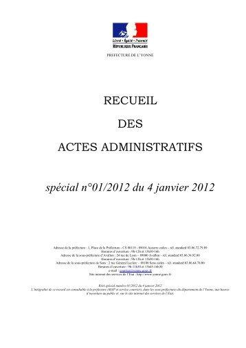 Recueil n°1 du 4 janvier 2012 - Préfecture de l'Yonne