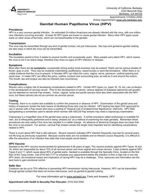 Genital Human Papilloma Virus (HPV) - University Health Services