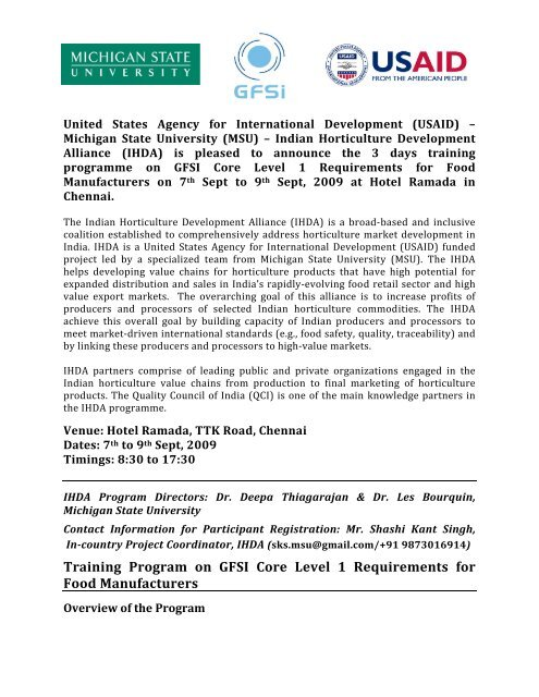 Training Program on GFSI Core Level 1 Requirements for Food