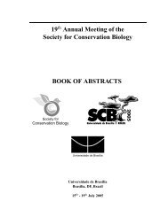 Abstracts available here - Society for Conservation Biology