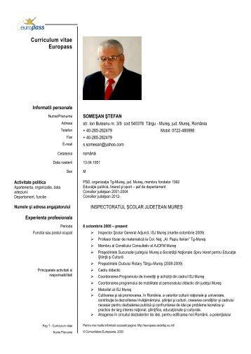 Curriculum vitae Europass - Inspectoratul Şcolar Judeţean Mureş