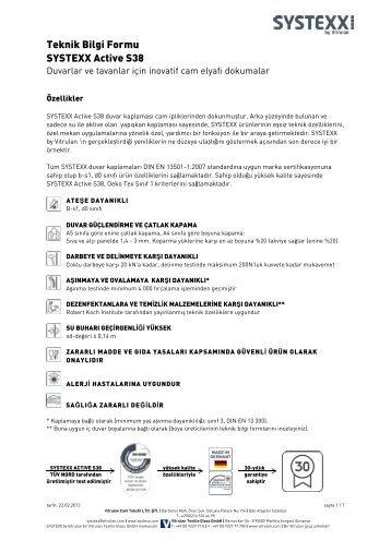Teknik Bilgi Formu SYSTEXX Active S38
