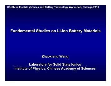 Fundamental studies on li-ion batteries