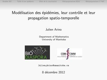 Modélisation des épidémies, leur contrôle et leur propagation spatio ...