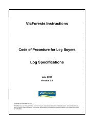 VicForests Instructions Log Specifications