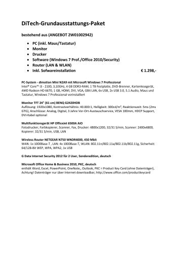 DiTech-Angebot 2012 zum Herunterladen - Treffpunkt Bibliothek
