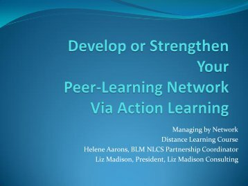 Managing by Network Distance Learning Course Helene Aarons ...
