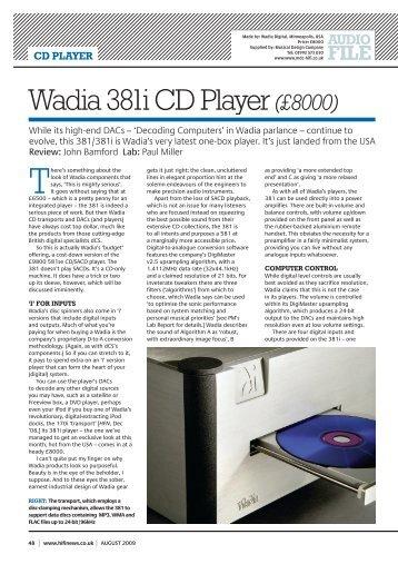 is the 781i the best cd player ever wadia digital. Black Bedroom Furniture Sets. Home Design Ideas