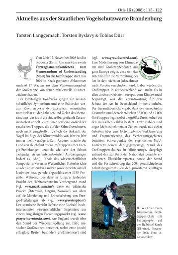 Aktuelles aus der Staatlichen Vogelschutzwarte Brandenburg - LUGV