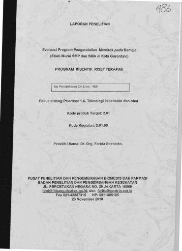 Fax 021 42887315 HP: 0811885105 - KM Ristek - Kementerian ...