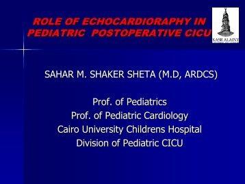 role of echocardioraphy in pediatric postoperative cicu - PCSICU.com