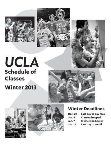 UCLA Schedule of Classes Winter 2013 - Registrar - UCLA