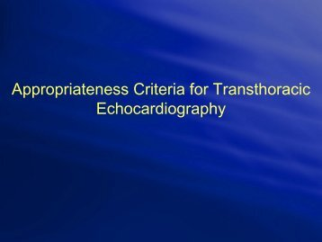 Appropriateness Criteria for Transthoracic Echocardiography