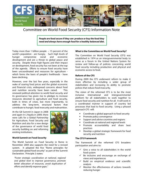 Committee on World Food Security (CFS) Information Note - FAO