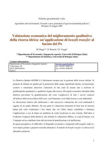 Valutazione economica del miglioramento qualitativo della risorsa ...