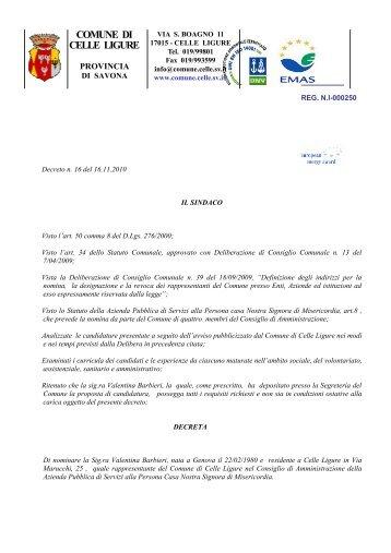 Decreto n. 16 - Albo pretorio - Comune di Celle Ligure