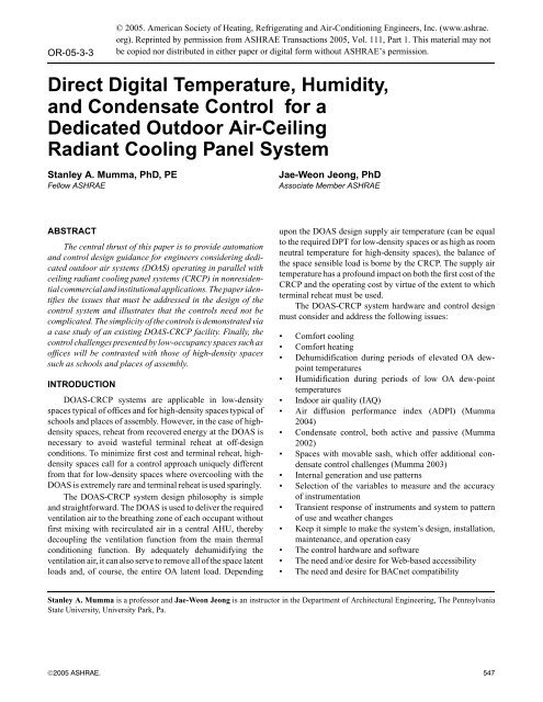 Direct Digital Temperature, Humidity, and Condensate Control - DOAS