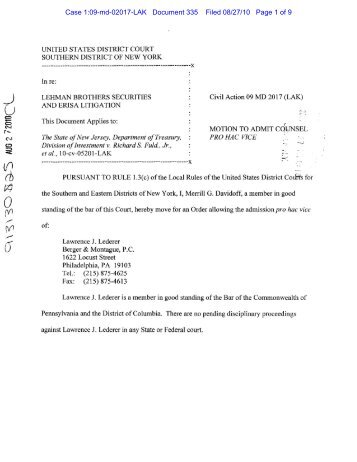 Motion to Admit Counsel Pro Hac Vice - Lawrence Lederer