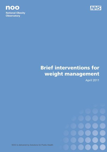 NOO | Brief Interventions for weight management - National Obesity ...
