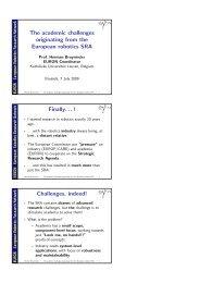 The academic challenges originating from the European robotics ...