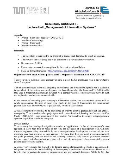 "Case Study COCOMO II – Lecture Unit ""Management of"