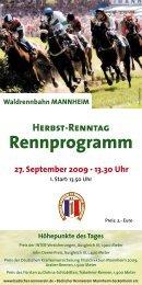 Rennprogramm - Trakehner - Stall Friedrich