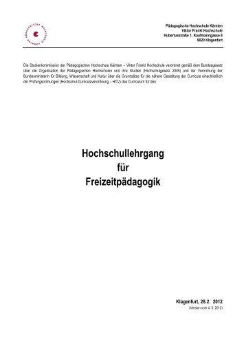 Hochschullehrgang für Freizeitpädagogik - Pädagogische ...