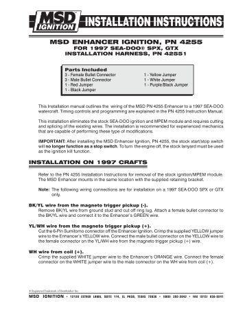10 installation instructi msd enhancer ignition pn 4255 exhaust gas technologies inc